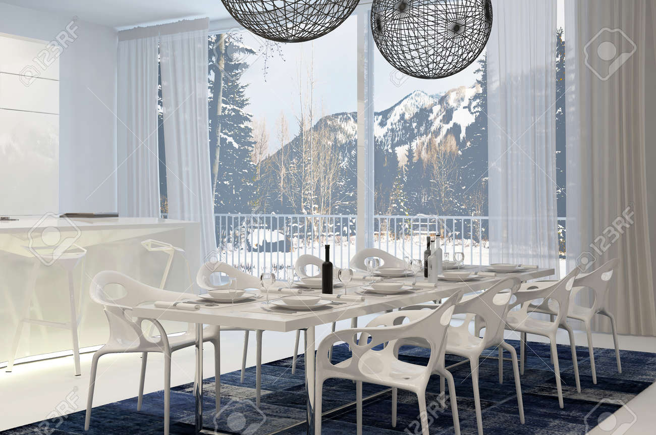 Modern Weiß Esstisch In Wohnküche Mit Blick Auf Schneebedeckte Berge ...