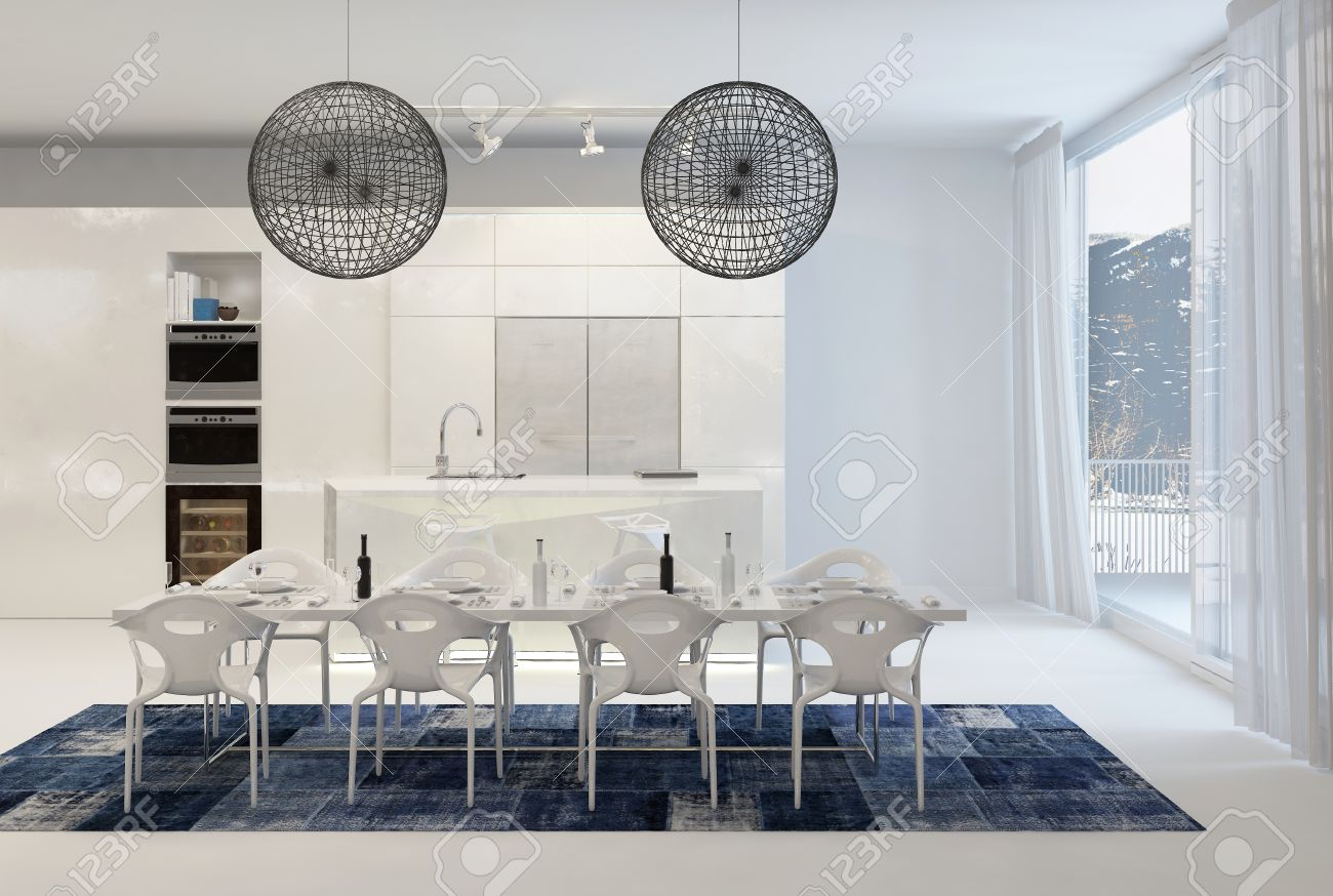 Modern Dining Table With Wire Globe Light Fixtures In White Kitchen Large Windows Stock Photo