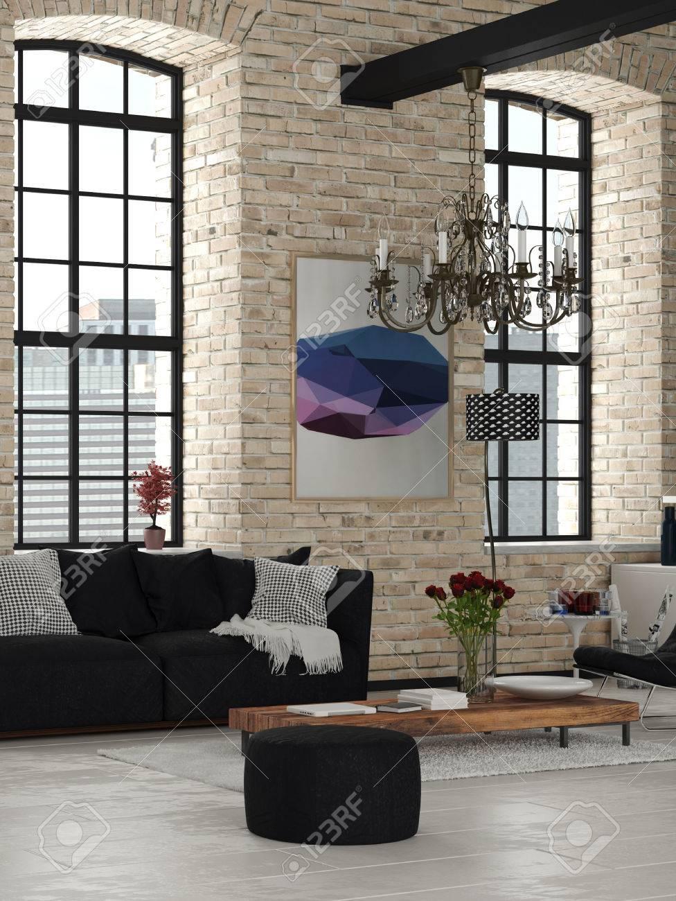 Design élégant salon avec Chandelier intérieur d\'une maison d\'architecture,  Érigé avec noir et blanc et des meubles en bois.