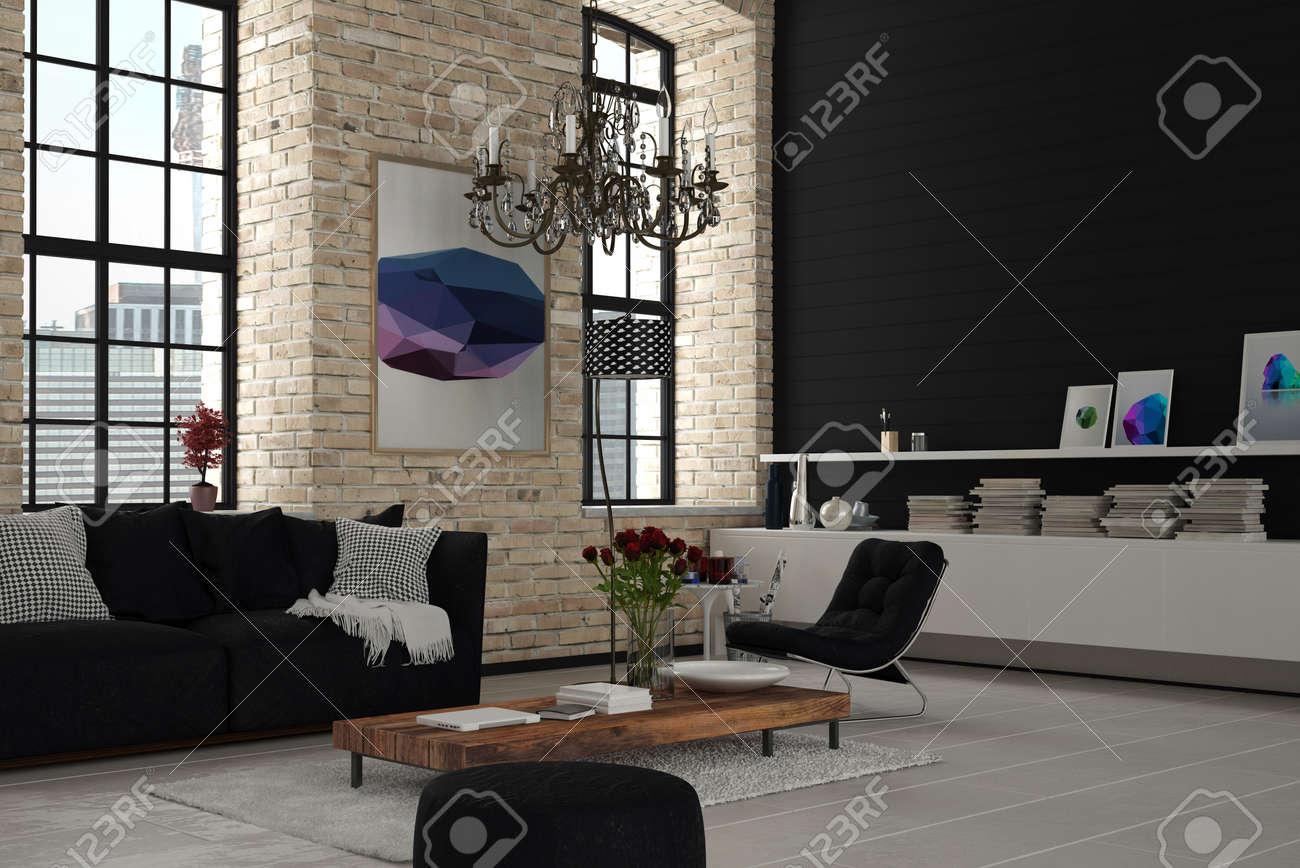 Atractivo Elegante Moderno Arquitectónico Salón Habitación Con Negro ...