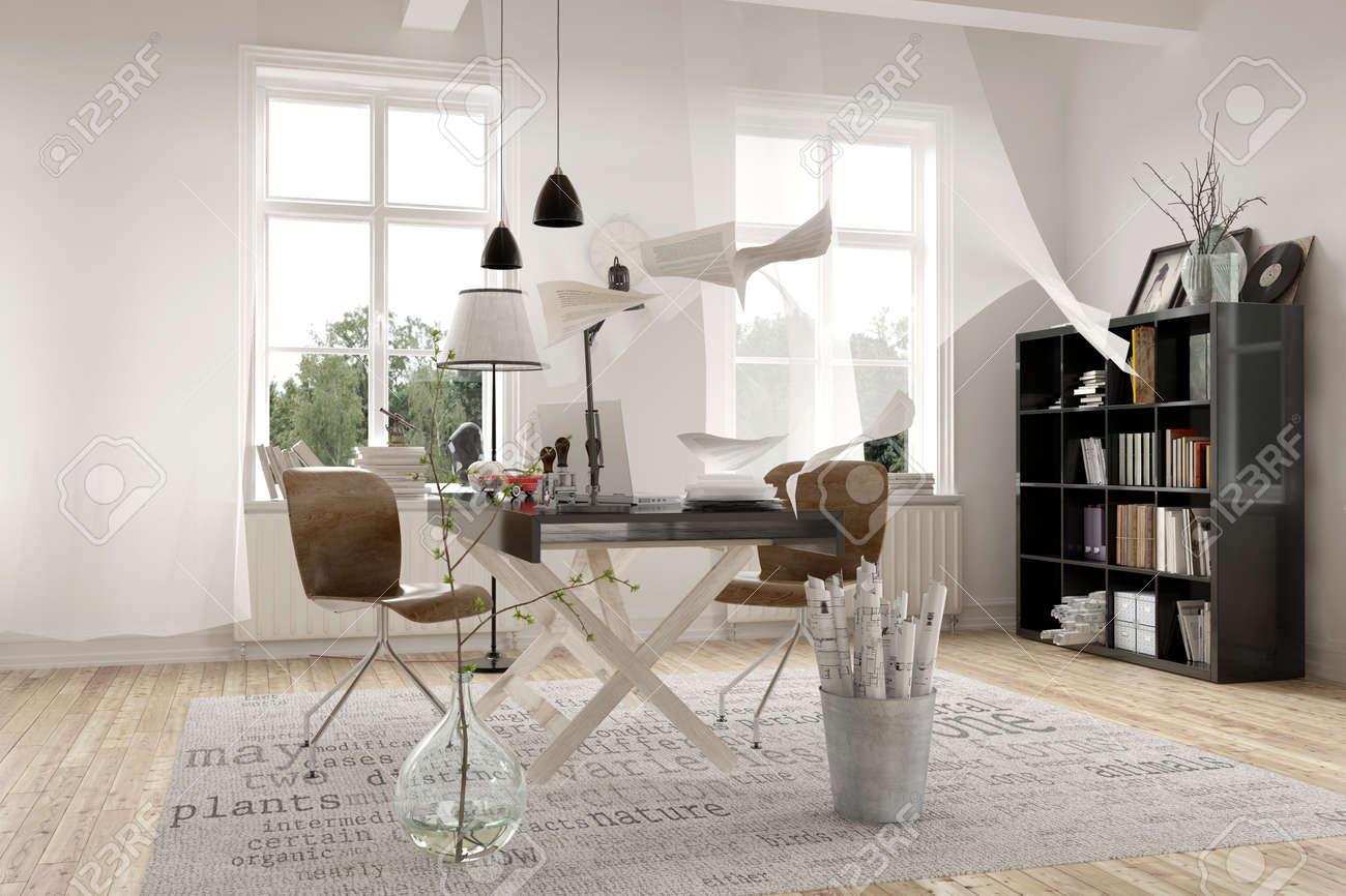 Contemporain architecture design intérieur dun bureau blanc