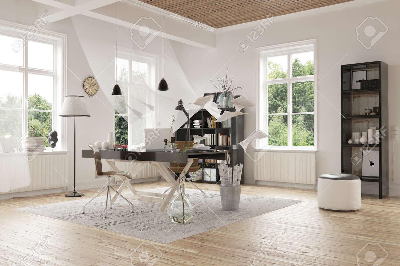 Attractive contemporain Architectural Design intérieur d\'une spacieuse  salle d\'étude à domicile avec des décorations élégantes et verre Windows.