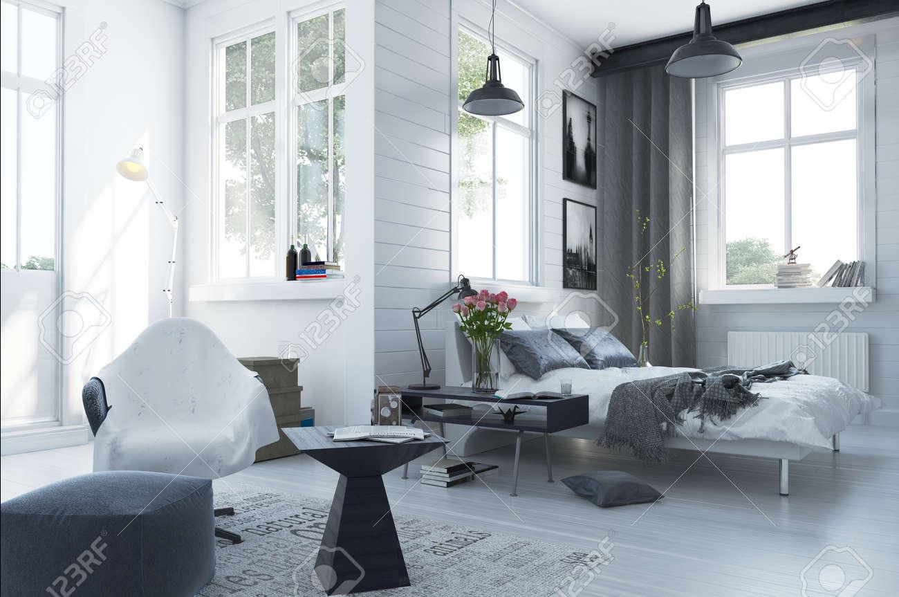 Große, Geräumige Moderne Schlafzimmer Interieur Mit Grauen Und ...