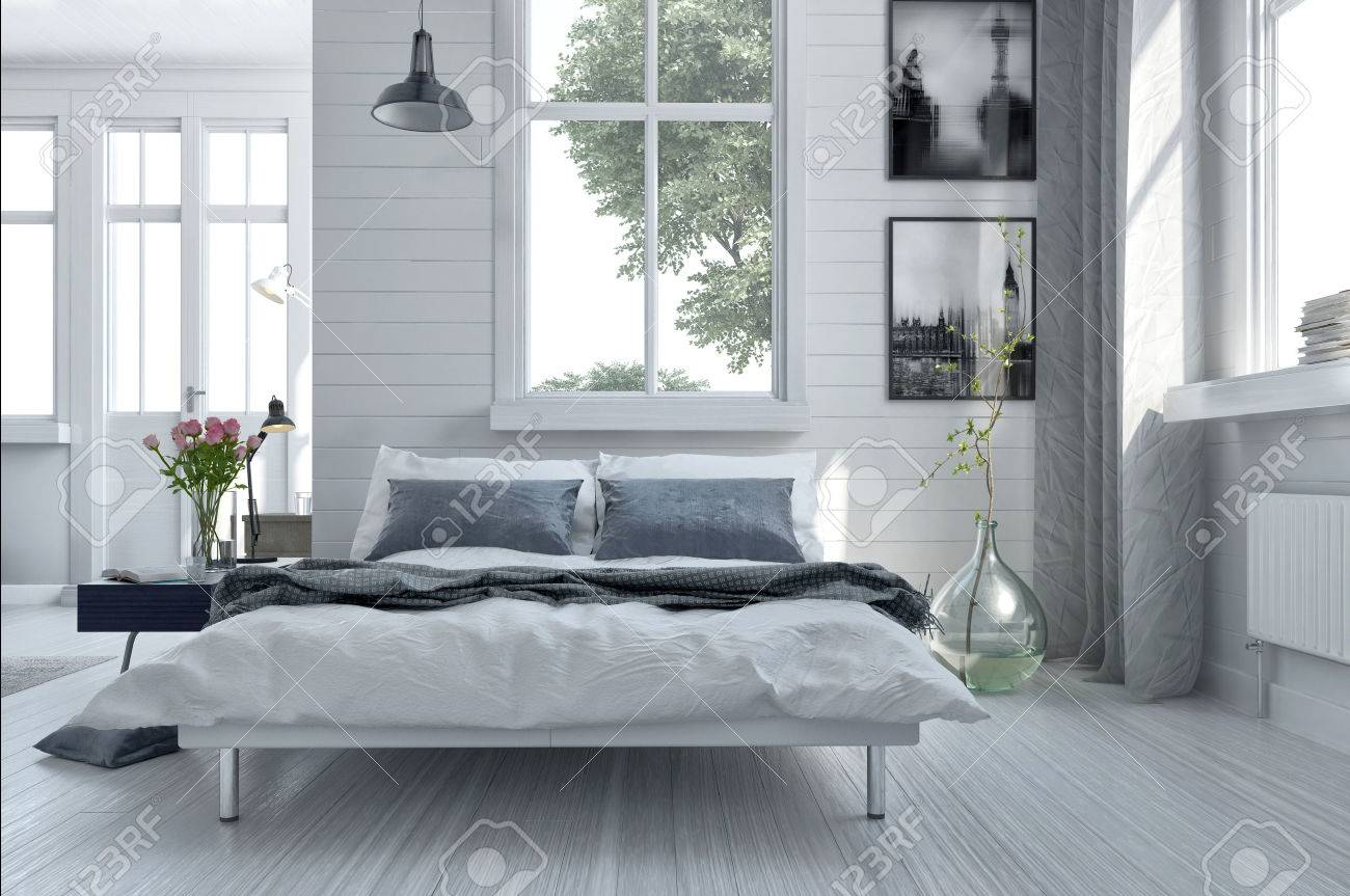 Dubbel divan bed in een lichte ruime chique moderne slaapkamer met ...