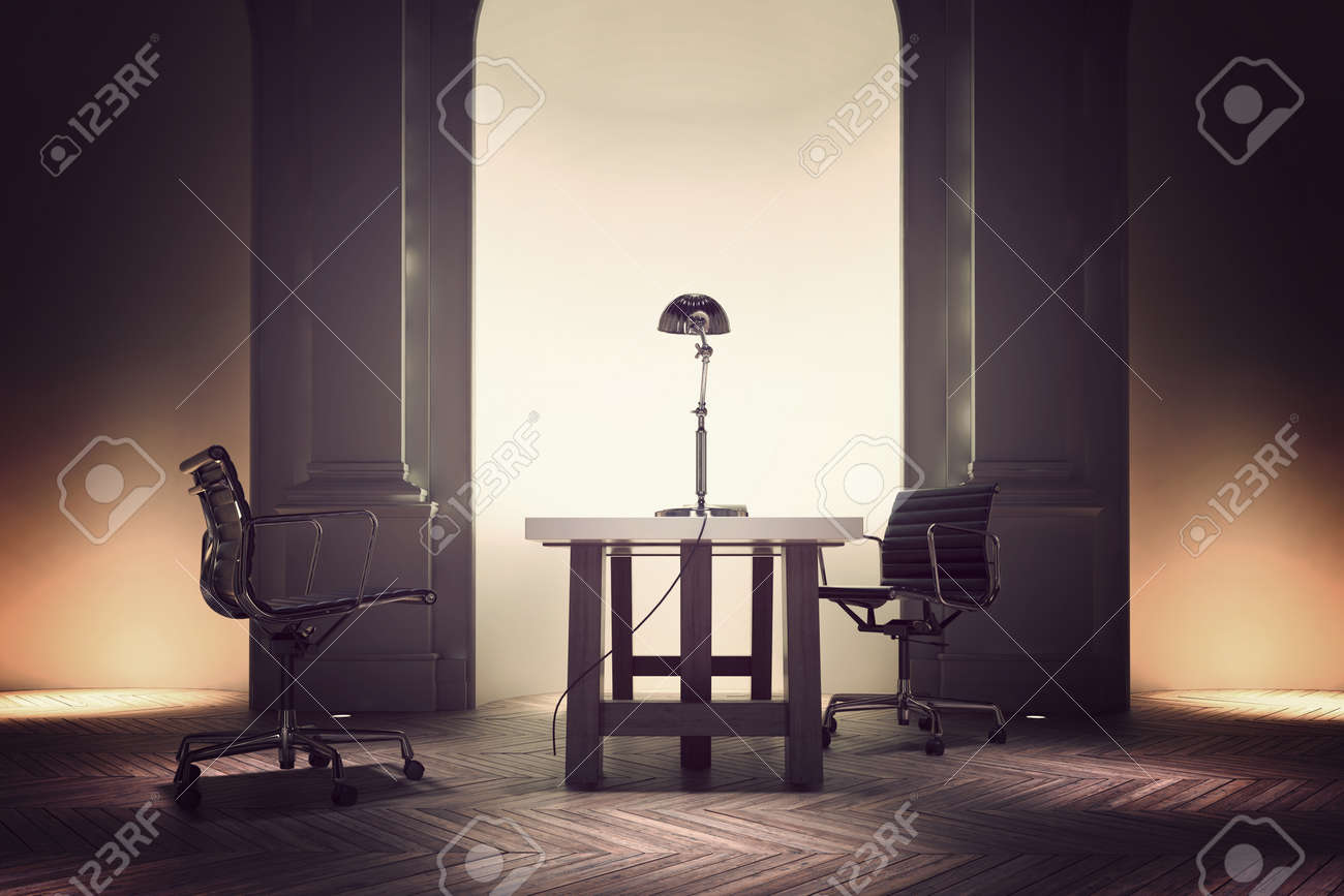 pivotantes et l'entreprise avec table et les de de d'un formelle deux à illuminé une chaises bureau de arc chef direction d'un l'avant la Intérieur e29IbEHWDY