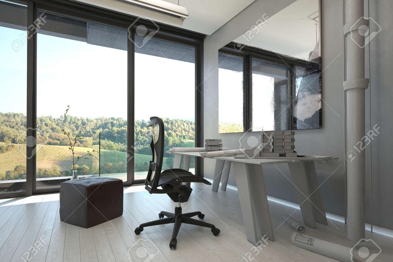 Mesa De Trabajo Y Sillas Dentro De Una Arquitectónico Elegante ...