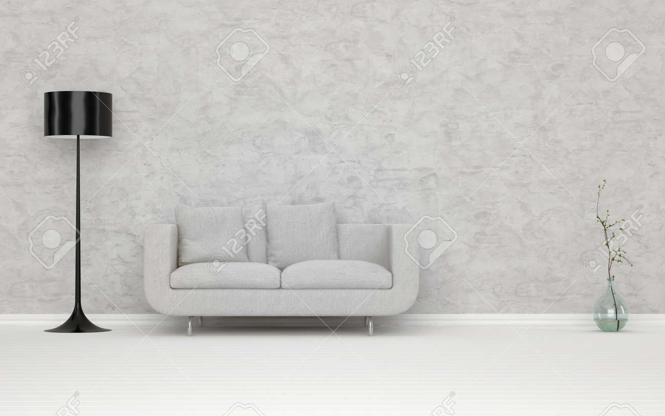 Elegant white couch in an architectural white living room with abstract wall decorated with