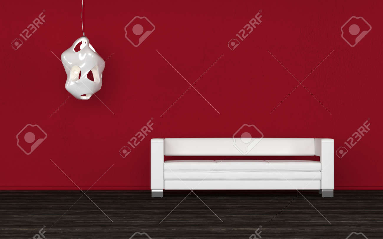 Confortable Canapé Blanc Dans Une Chambre Rouge Debout Contre Le Mur ...