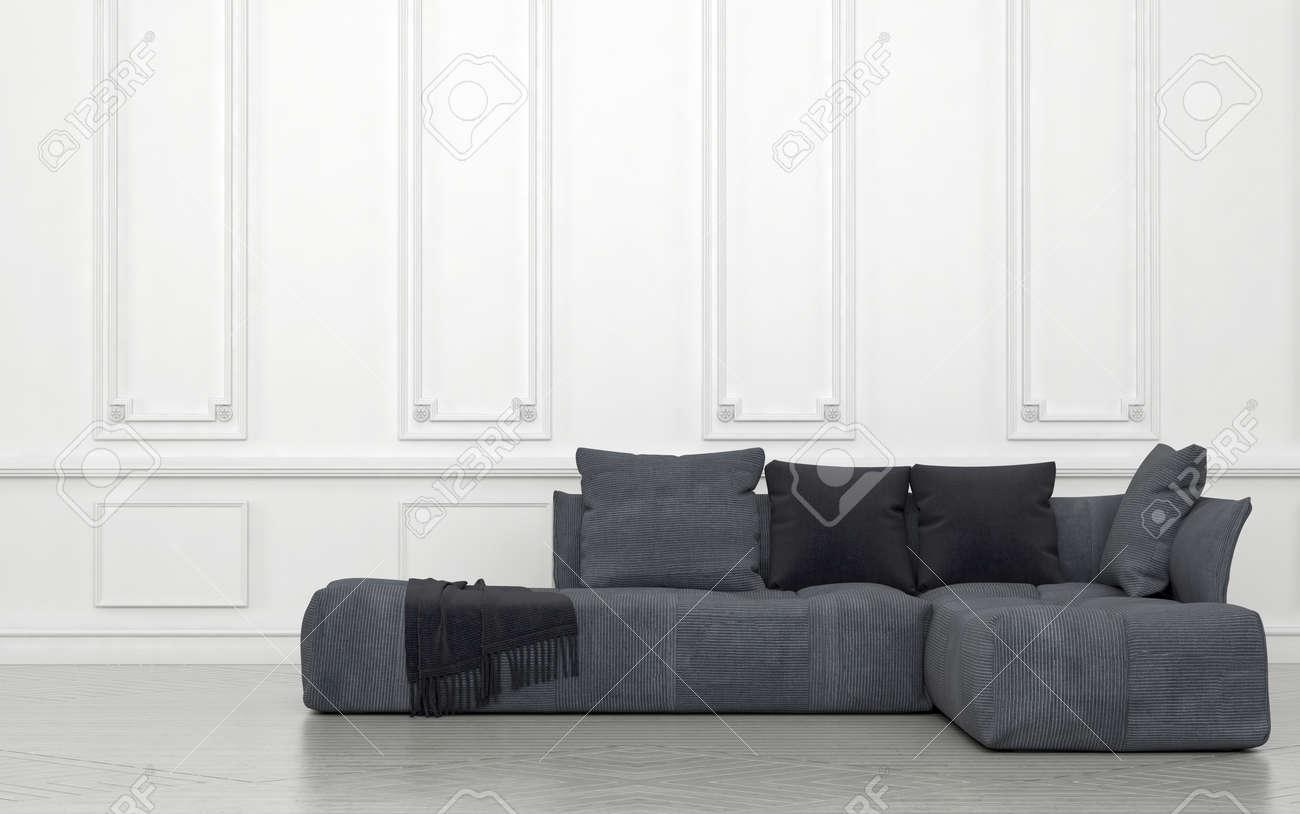 peluche grigio divano con cuscini e gettare in qualche decorazione ... - Decorare Con Pareti Grigie