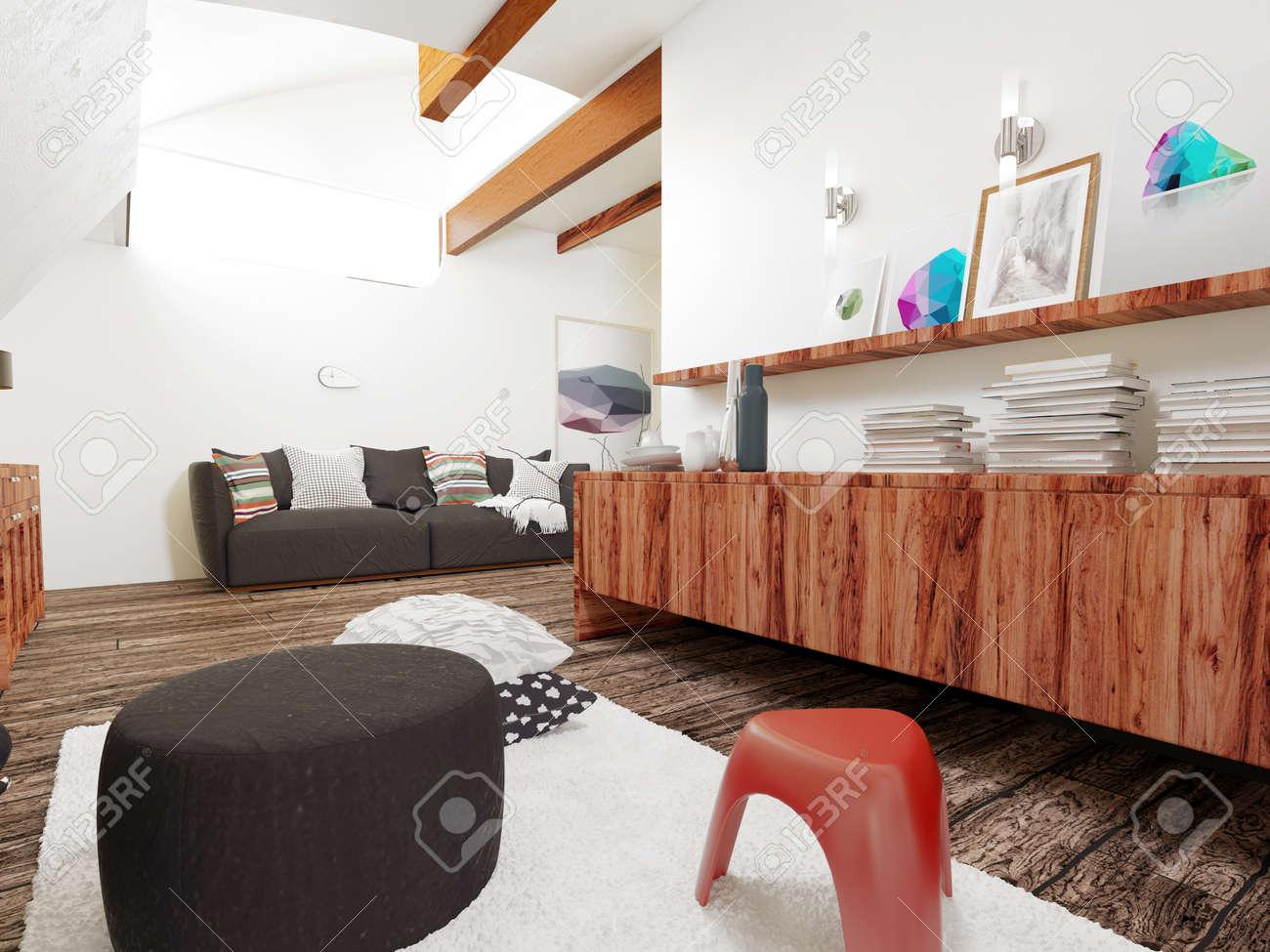 Intérieur d\'architecture du Salon dans la maison moderne avec un mobilier  simple en bois contemporain et Accents. Rendu 3D.