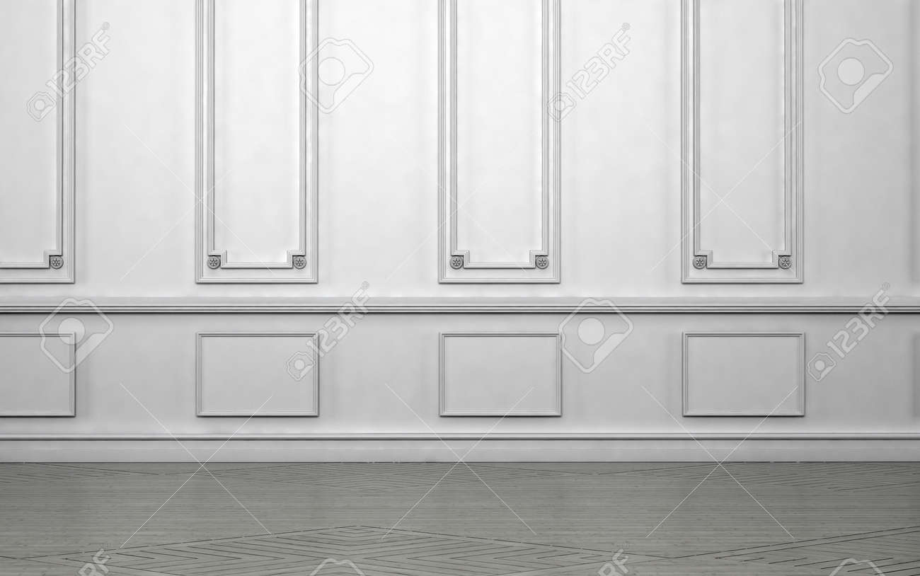 Superbe Empty Room Interior With Classic Wainscoting Of Ornamental White Wooden  Wall Paneling In An Architectural Background
