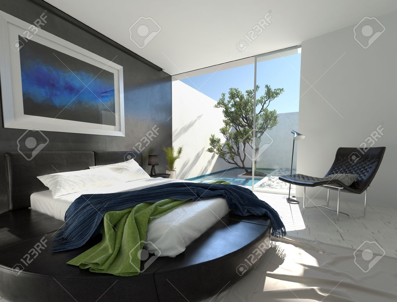 Circular Bed Luxury Black Leather Bed On A Circular Podium In A Modern Bedroom