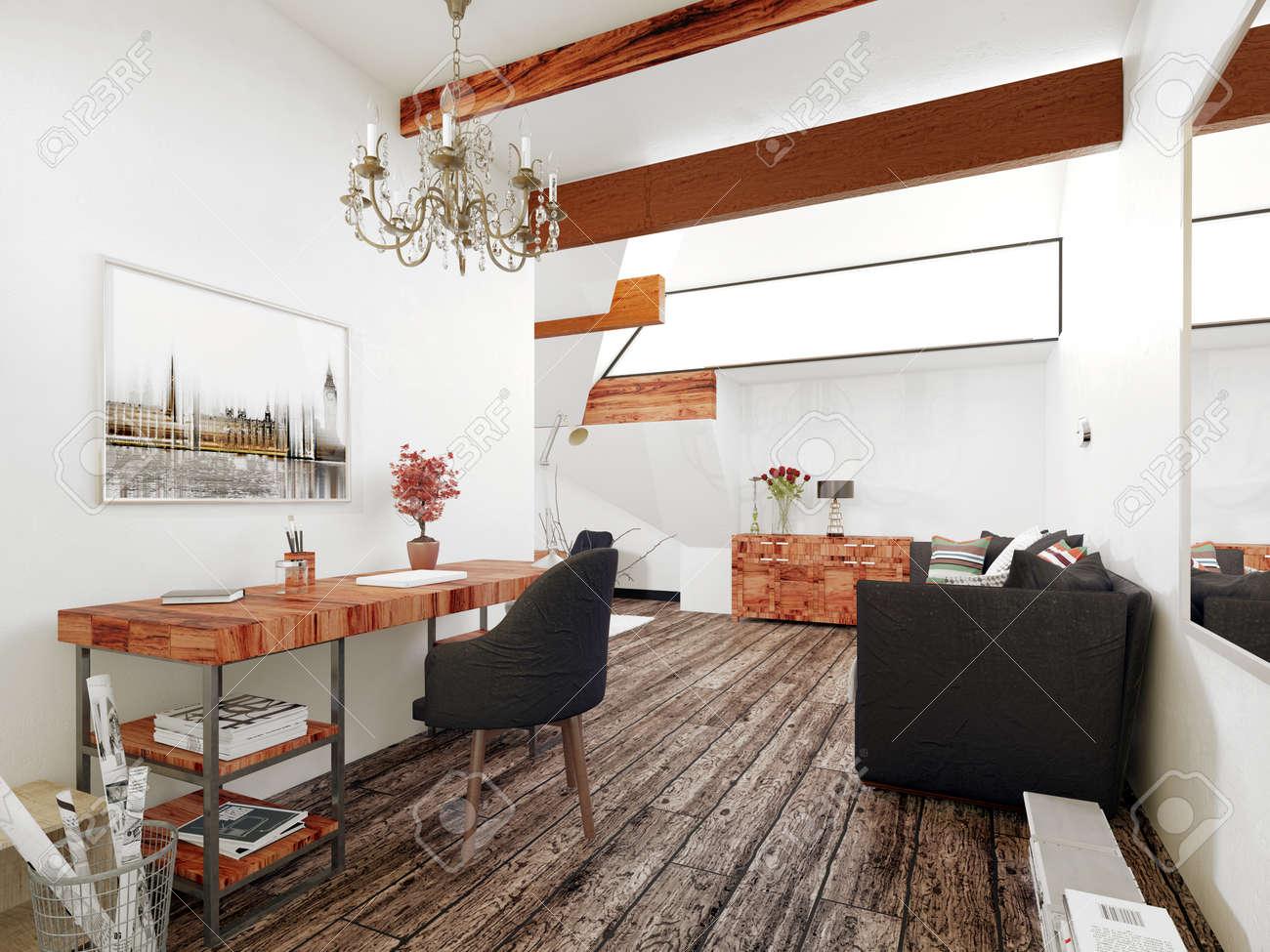 Bureau et salon de l intérieur de maison moderne avec des accents