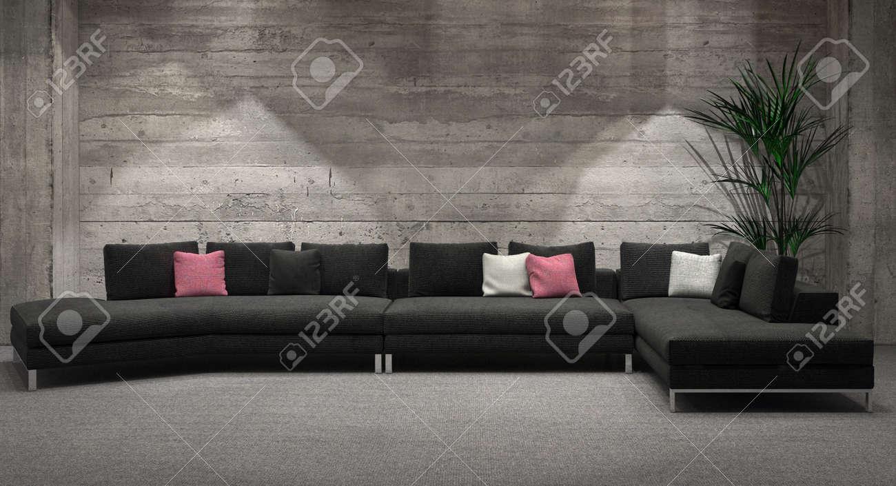 La vie moderne de fenêtre intérieur de la chambre avec un mur de briques  fonction de gris et confortable unité de coin salon suite illuminée par ...
