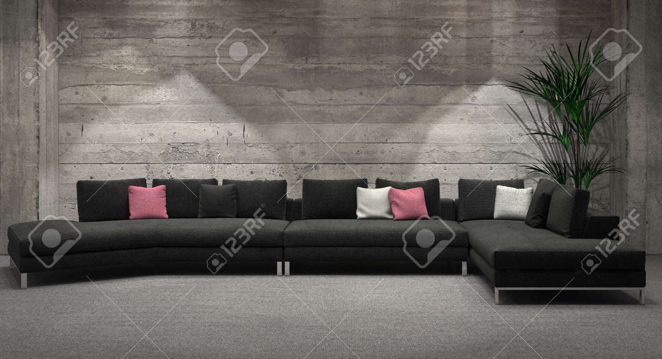 Modern Windowless Living Room Interior With A Feature Grey Brick Wall And Comfortable Corner Unit Lounge