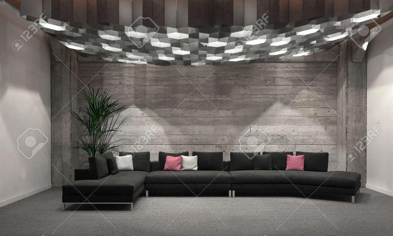 cozy windowless living room interior with grey brick walls, a