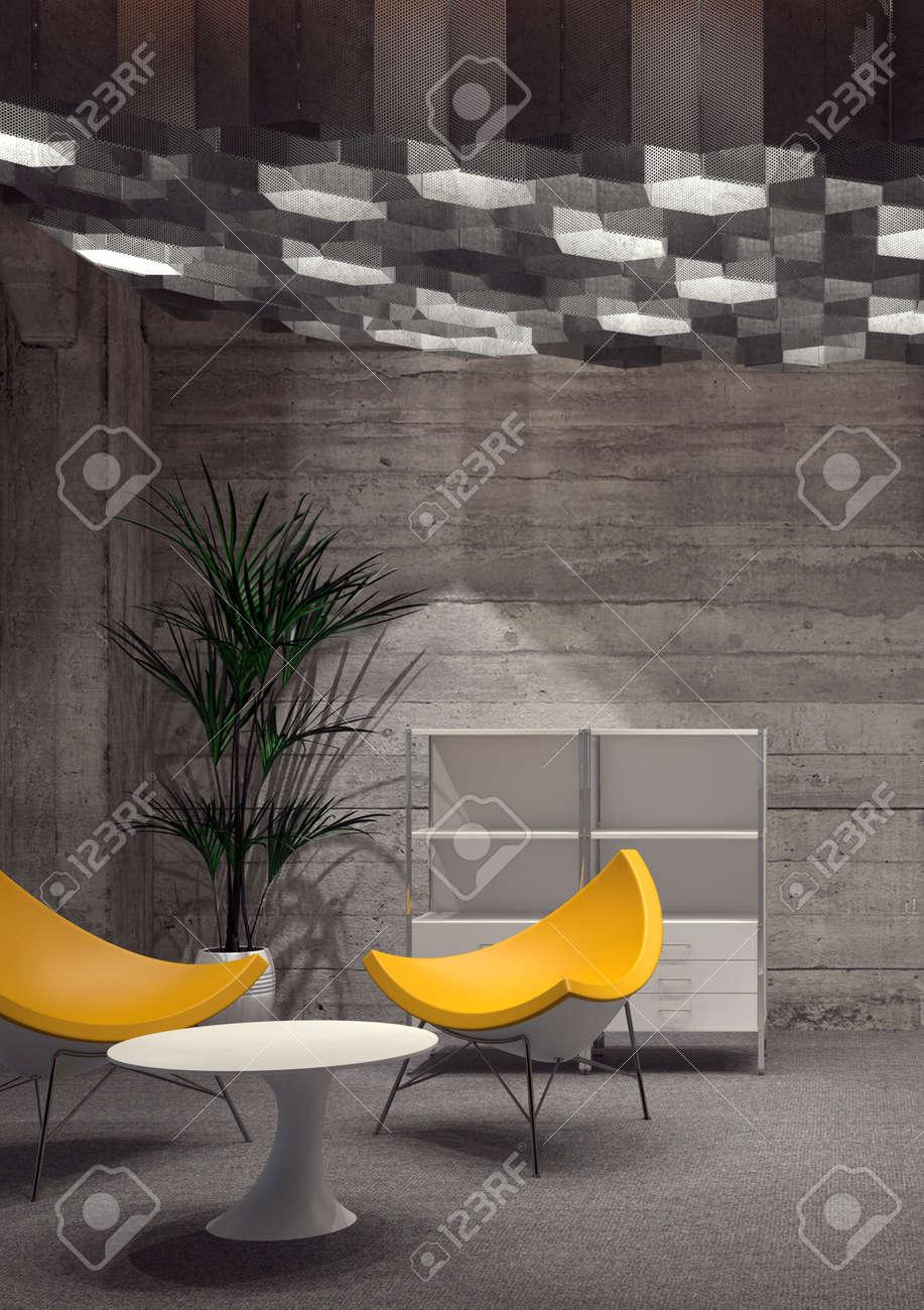 Moderne Zimmer Mit Modernem Yellow Stühle, Kleine Weiße Tisch, Haus ...