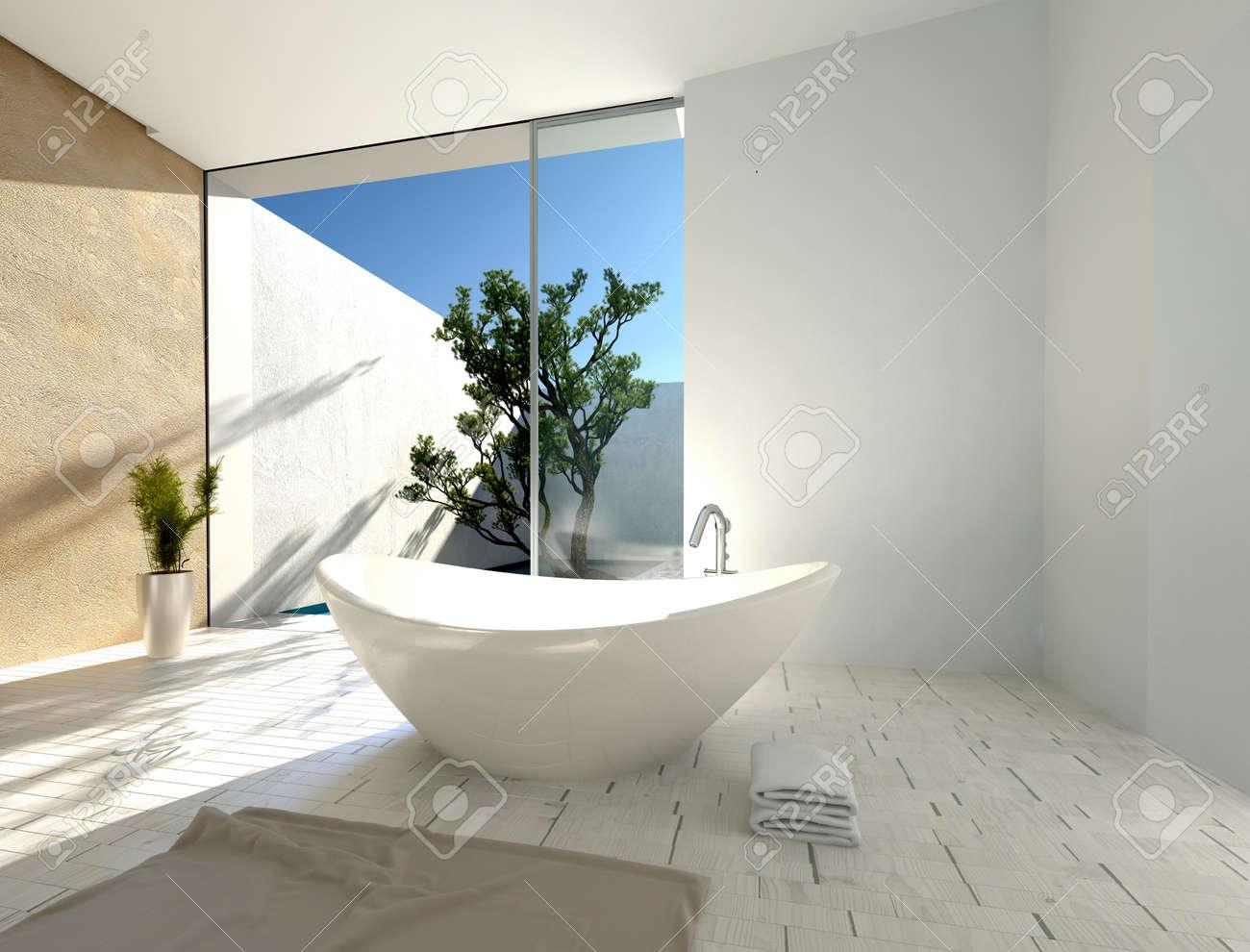 Baignoire En Forme De Bateau Elegant Et Moderne Dans Une Salle De Bain Tropicale Ensoleillee Avec Des Murs Blancs Et Beige Parquet Et Porte En Verre