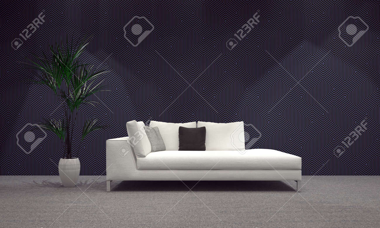 Geräumiges Modernes Architektur Wohnzimmer Mit Weißen Sofa Und ...