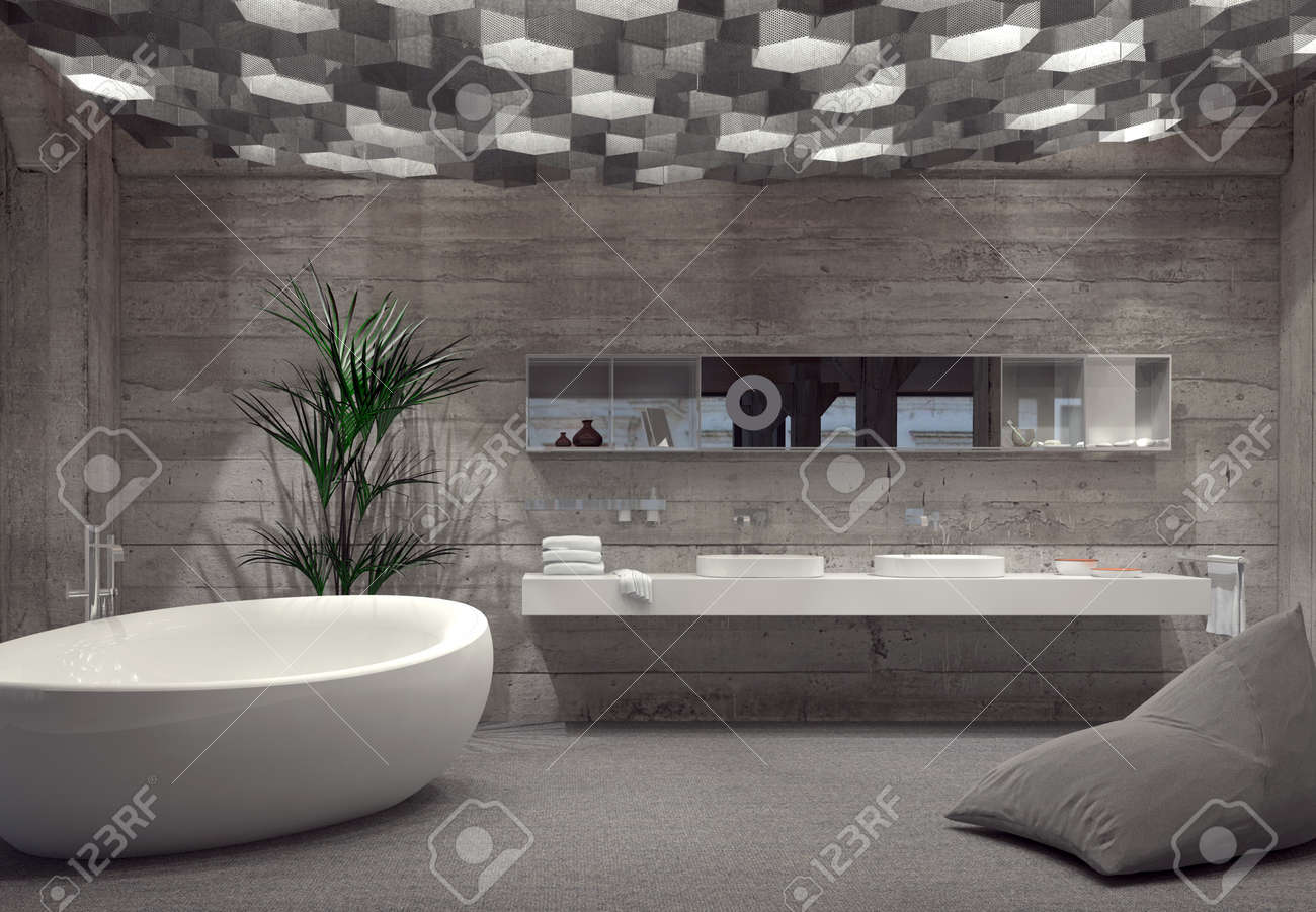 Modern Grey Luxury Bathroom Interior With A Free Standing Boat Shaped  Bathtub And Double