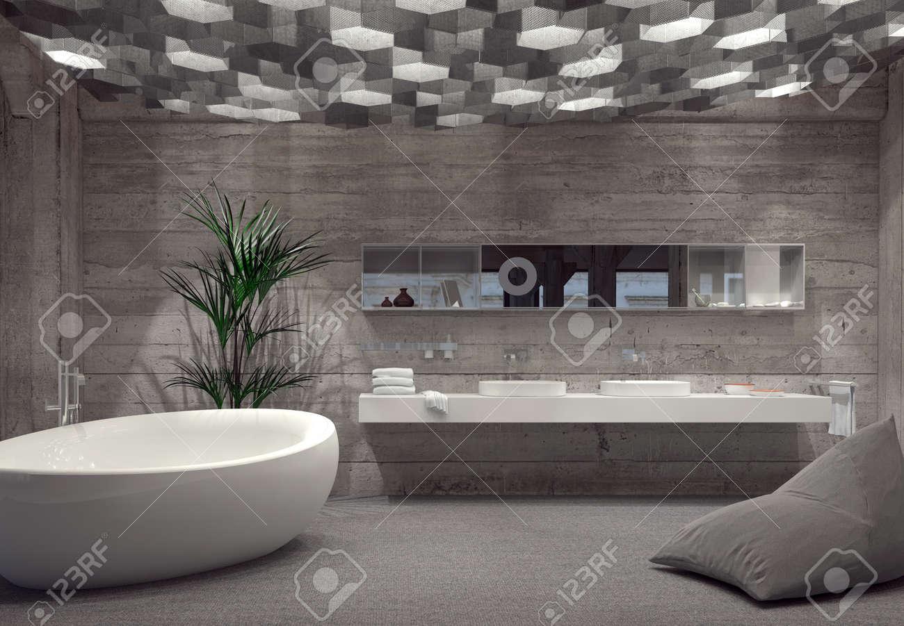 Salle de bains de luxe intérieur gris moderne avec baignoire en forme de  bateau autonome et double vanité éclairée par une multitude de lumières ...