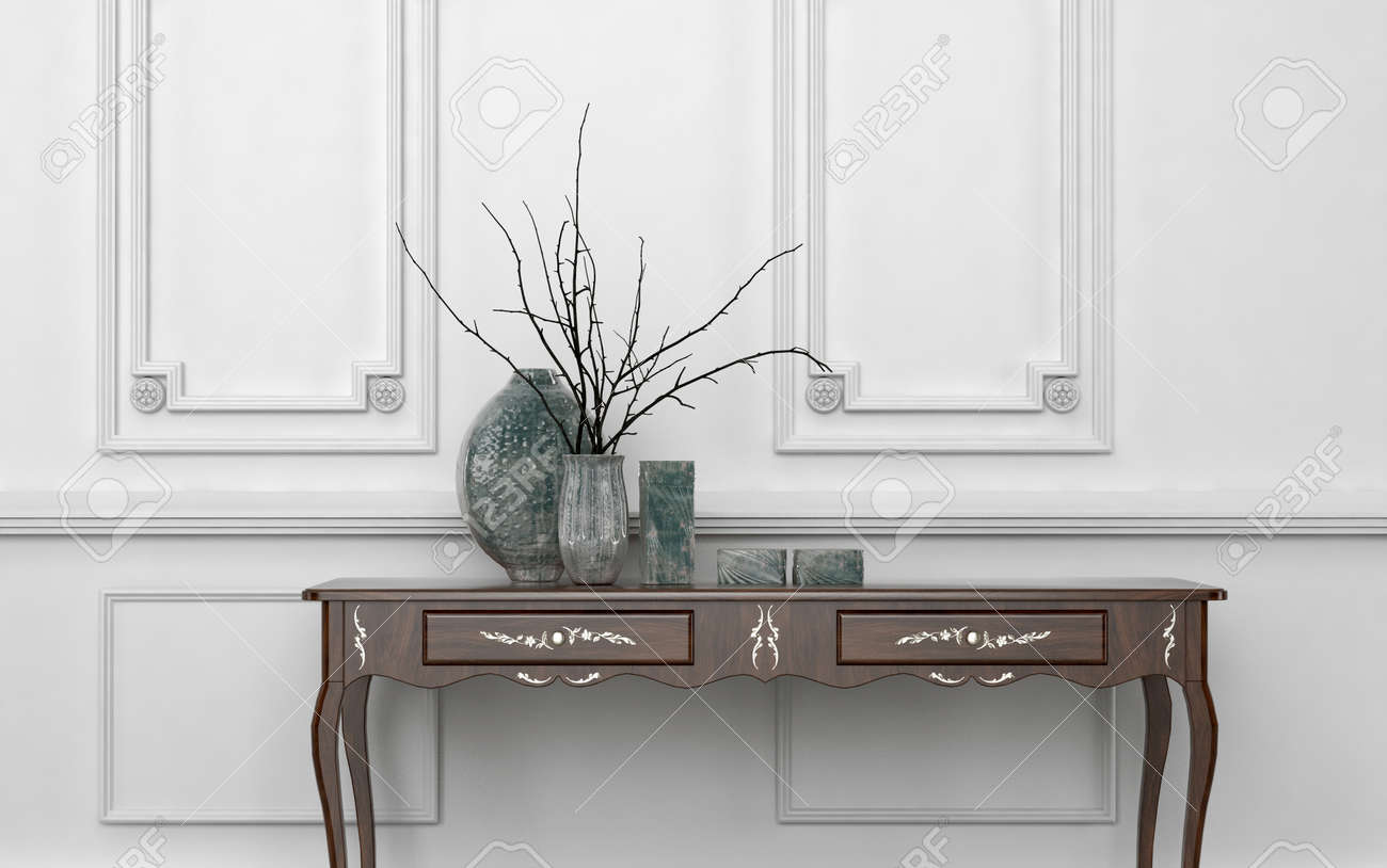 Vintage Style Console Table In A Classic Living Room Interior ...