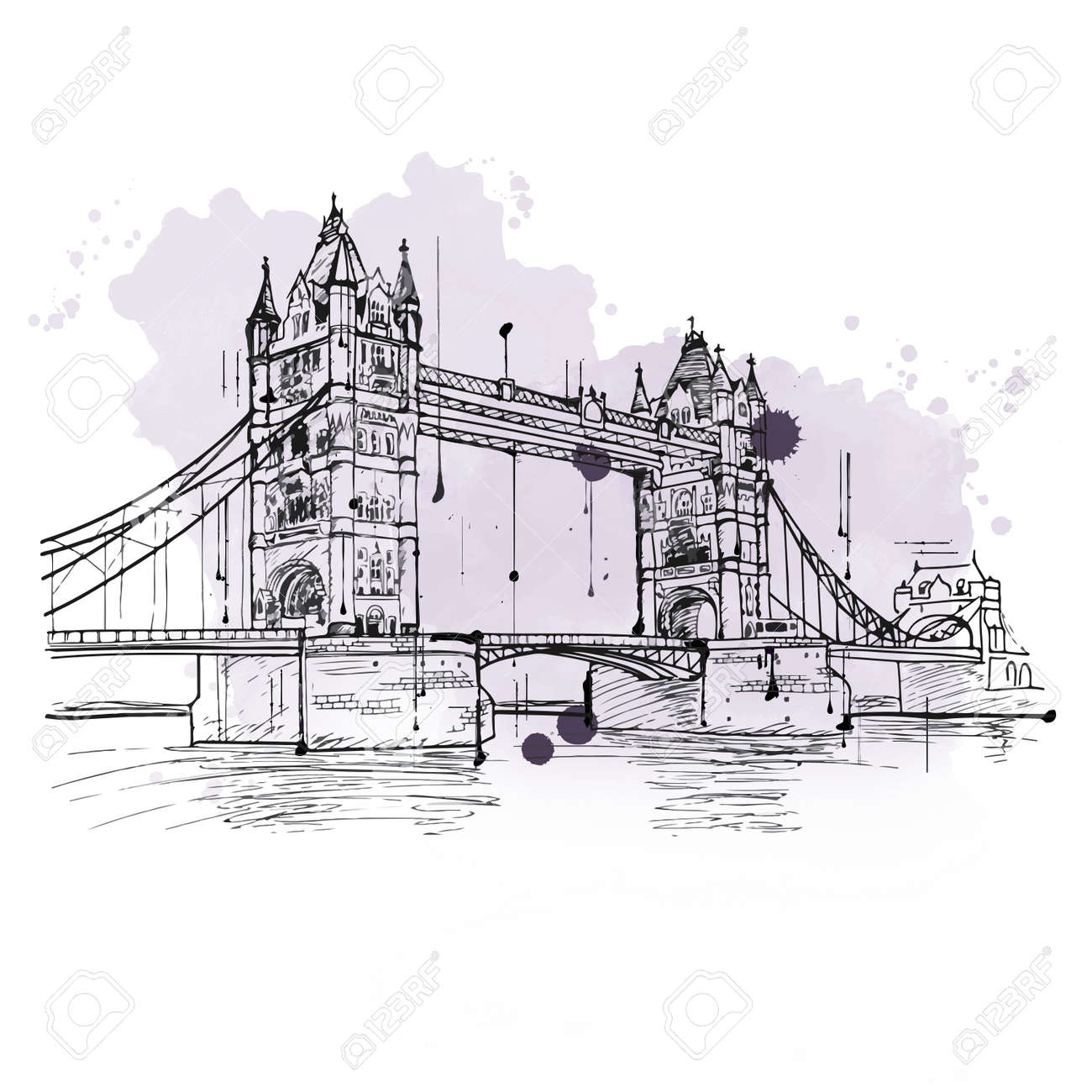 Artistic Hand Drawn Sketch Of The Tower Bridge London Crossing River Thames With Its