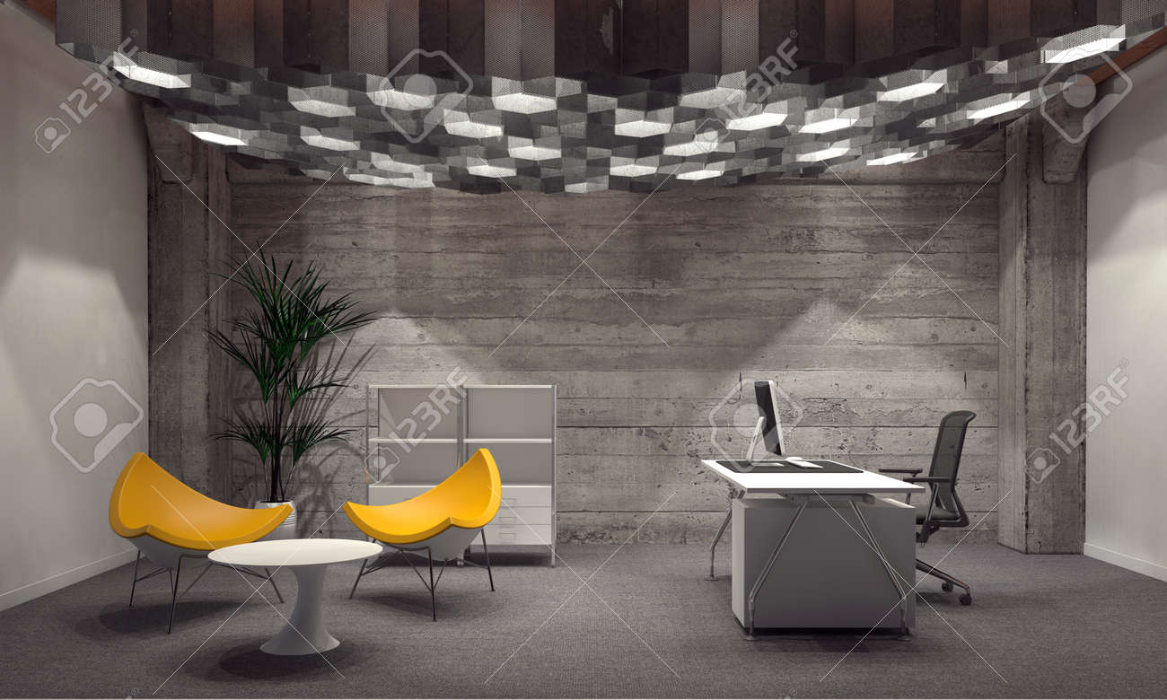 corporate office interior. modern corporate office interior for a ceo with grey brick walls, contemporary yellow triangular seating
