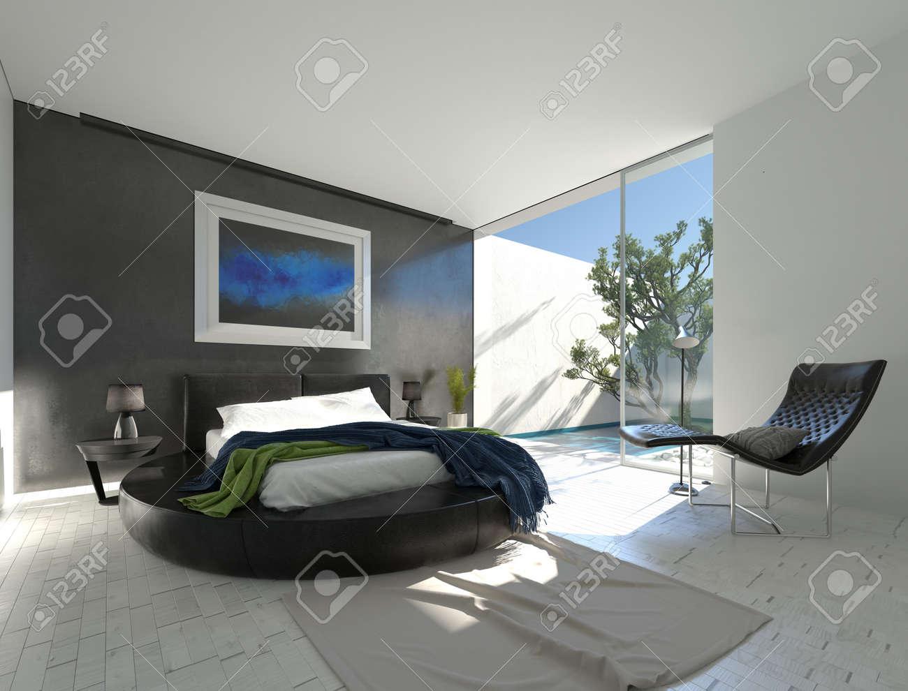 Moderne Luxus Schlafzimmer Mit Schwarzem Leder Und Grauen Und Weißen Dekor  Und Einer Geschlossenen Terrasse