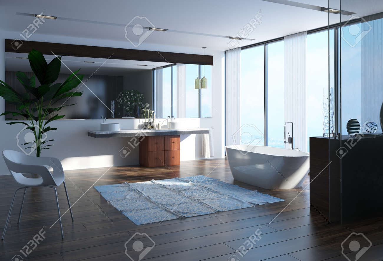 Contemporary bathroom with a modern boat shaped bathtub in front of a large panoramic floor