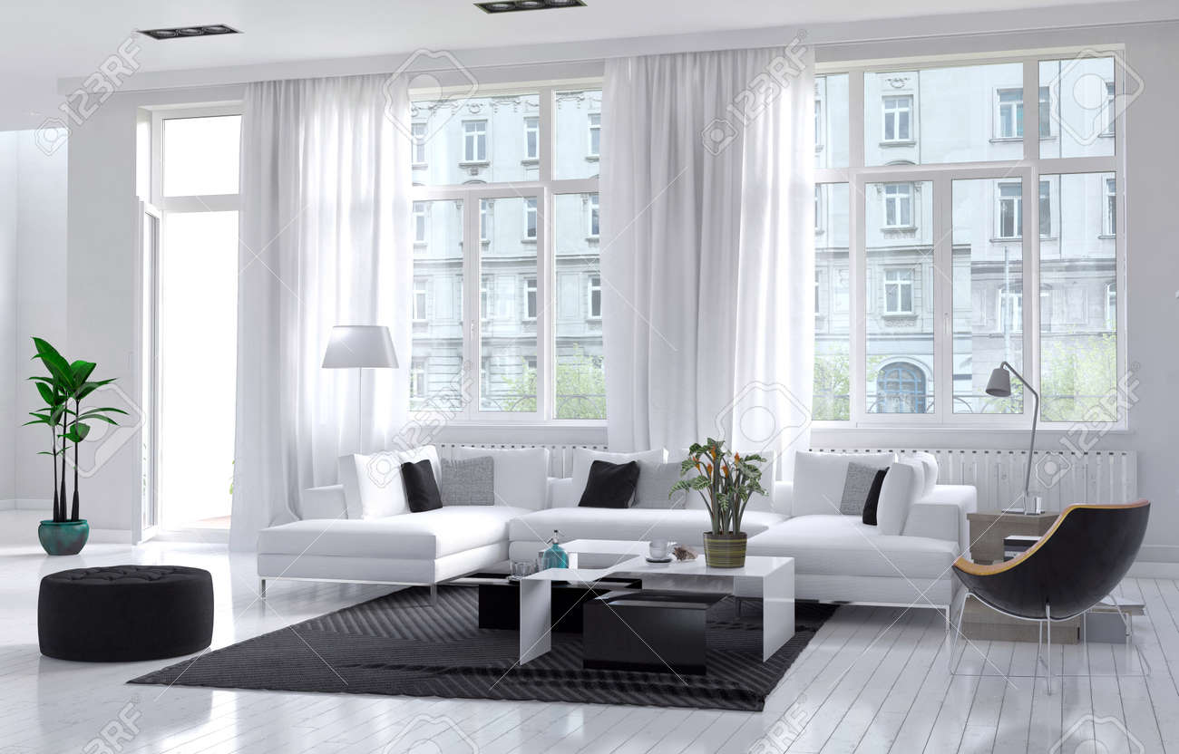 Modern Spacious Airy Living Room Interior With White And Black ...