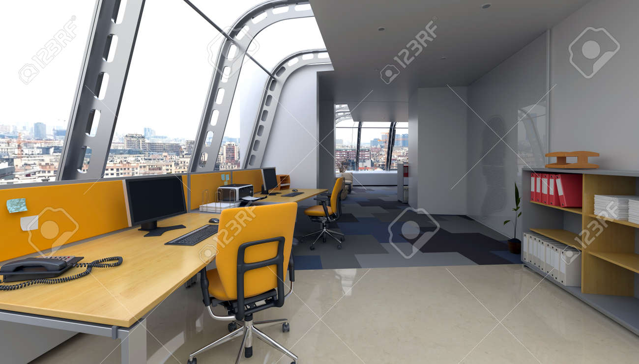 Modern Office Interior With Curved Glass Windows In A Contemporary ...