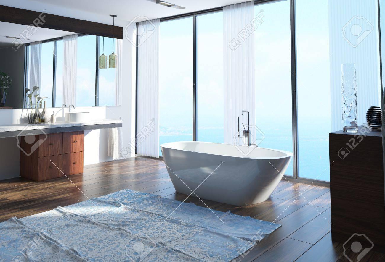 intérieur moderne front de mer décoration salle de bain avec une