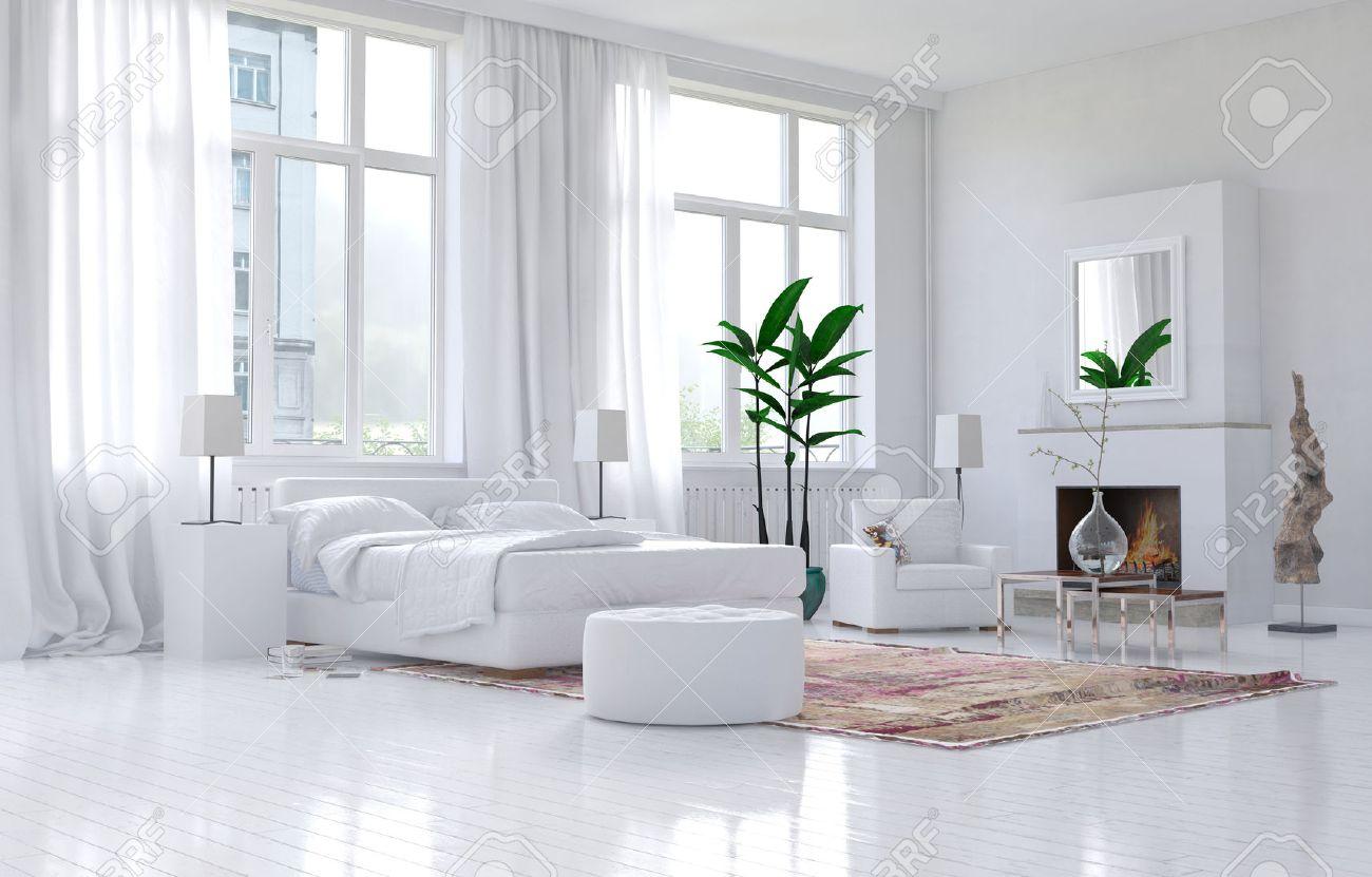 Intérieur spacieux contemporain blanc chambre avec un décor ...
