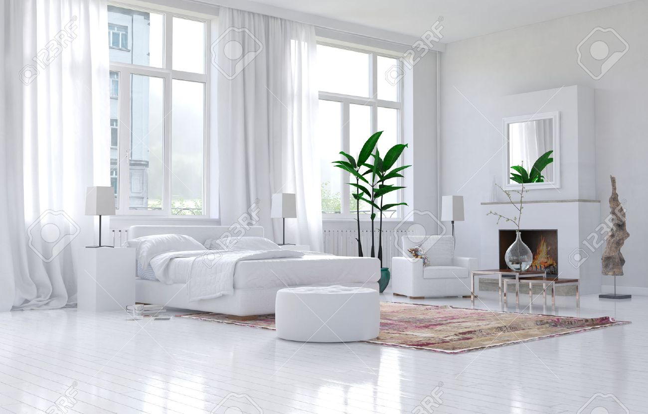 Contemporary Spacious White Bedroom Interior With Monochromatic ...