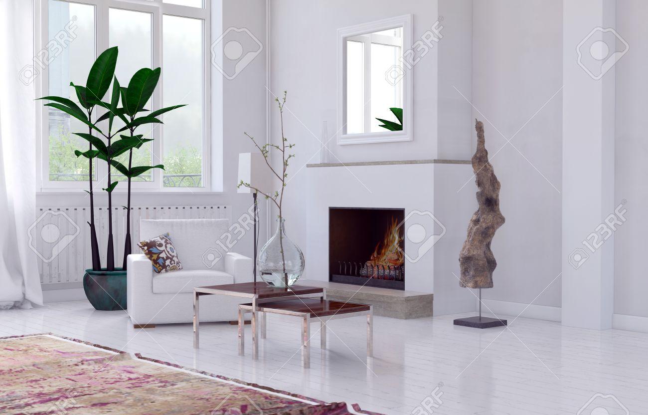 Mysigt minimalistisk vit vardagsrum inredning med öppen spis ...