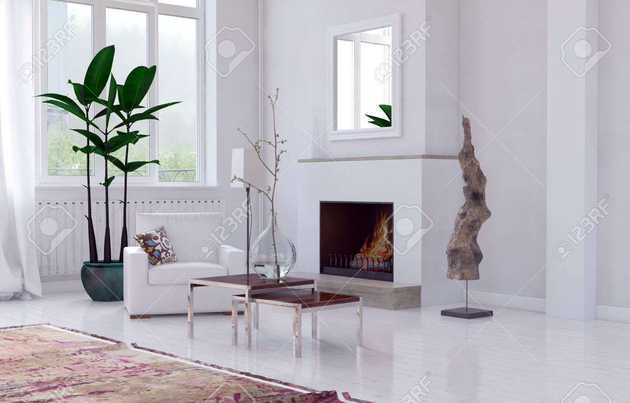 single chairs for living room. Cozy minimalist white living room interior with fireplace  overmantel mirror and single armchair potted Minimalist White Living Room Interior With Fireplace