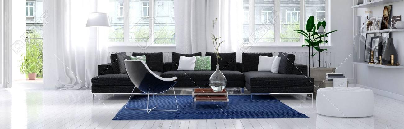 Panorama Horizontale Banner Eines Modernen Wohnzimmer Innenraum Mit