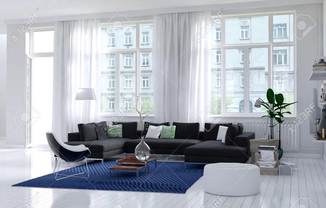 Komfortable Und Moderne Wohnzimmer Interieur Mit Monochromen Weißen ...
