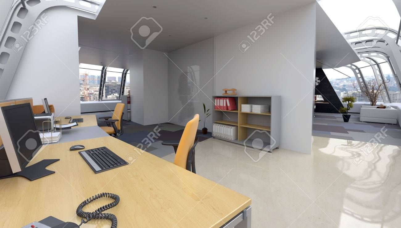 moderne penthouse wohnung, interior of home office in moderne penthouse-wohnung mit, Design ideen