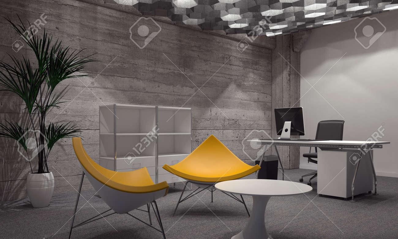 Interior De La Habitación Moderna Amueblado Con Office Contemporáneo ...