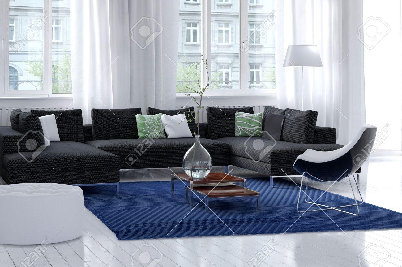 Das Helle, Luftige Moderne Wohnzimmer Innenraum Mit Weißen Wänden ...