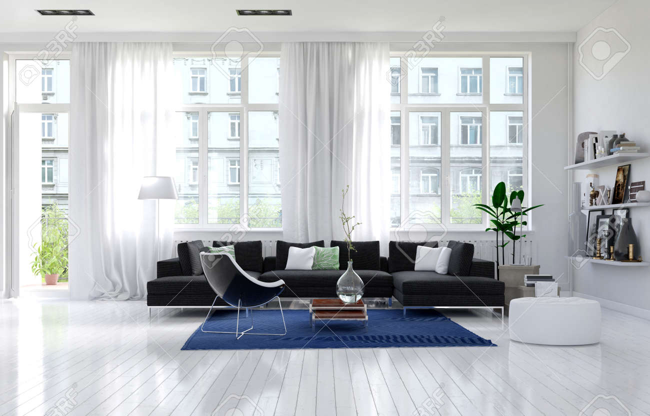 Contemporary Monochromatic White Living Room Interior With Large ...