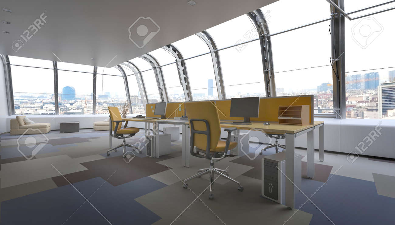 Great Interior Of Modern Penthouse Office Space In Urban City, Row Of Office  Chairs And Computers