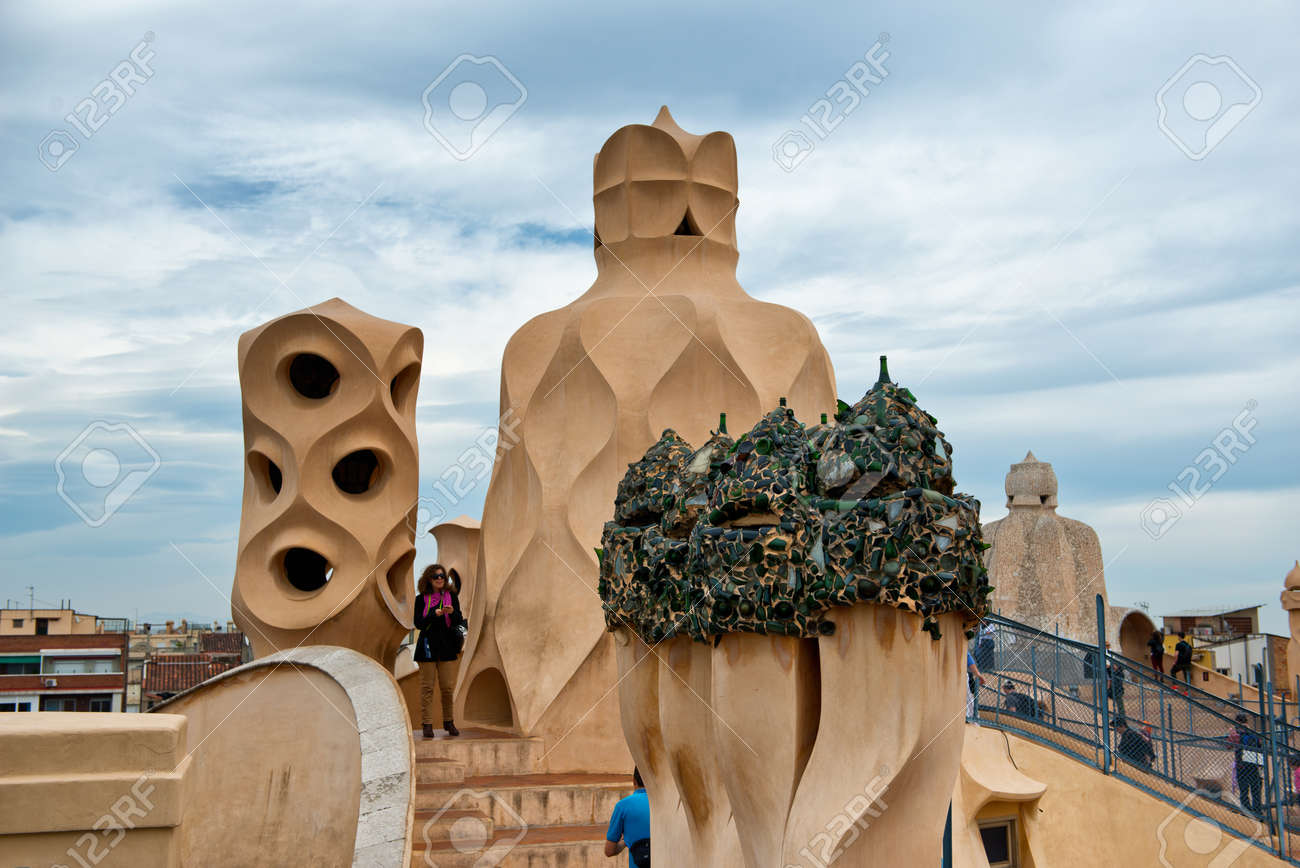 Barcelona Spain May 01 Rooftop At Casa Mila Also Known As