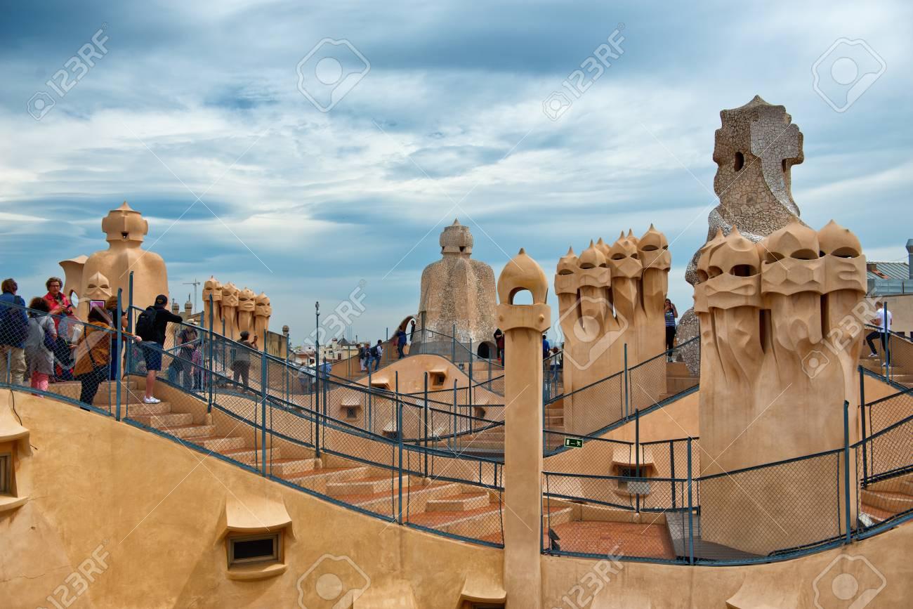 Barcelona Spain May 01 Gaudi Chimneys At Casa Mila Also