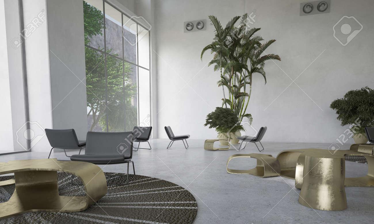 Moderno Diseno Salon Con Plantas De Interior Con Zona De Estar