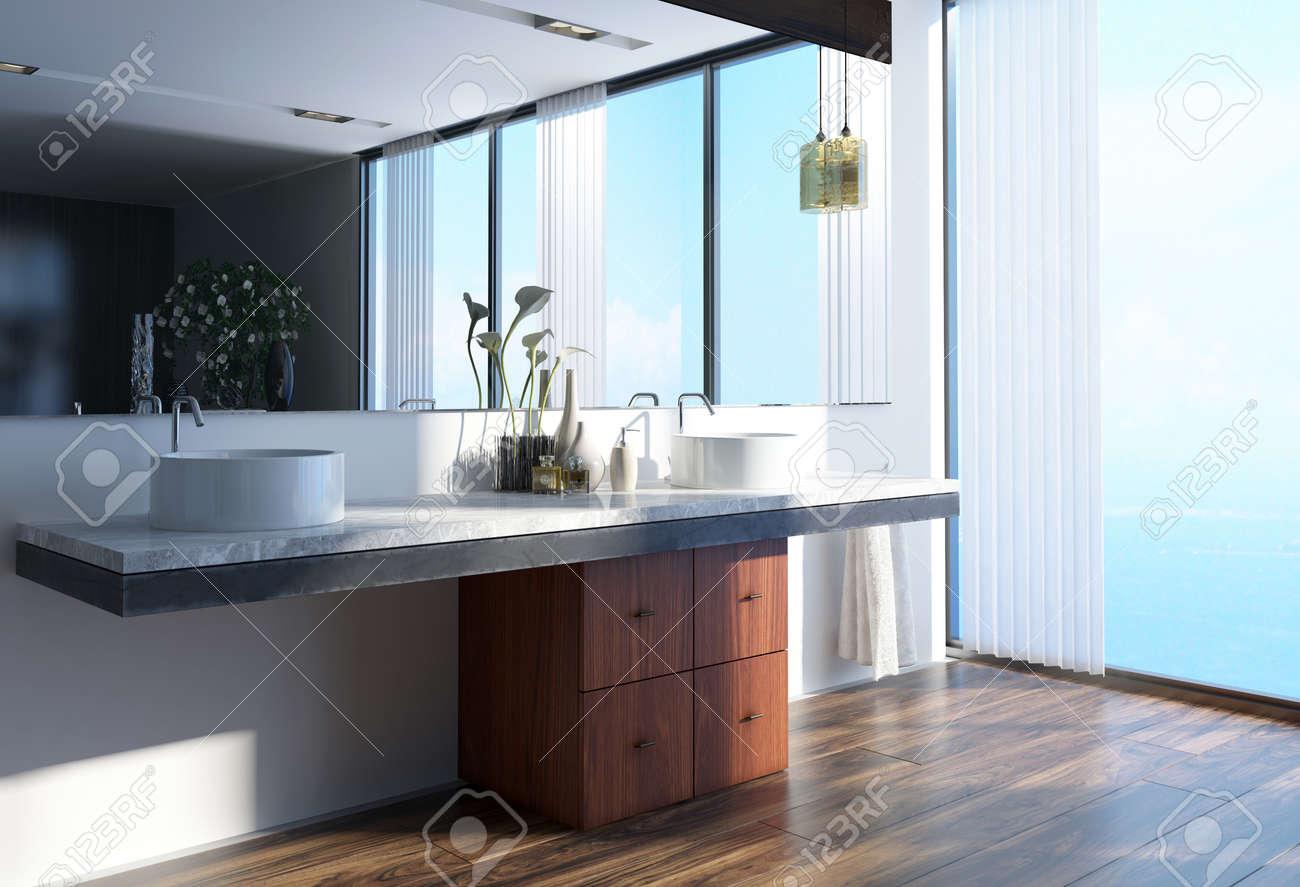 Sala Da Bagno Moderna : Doppia unità di vanità e grande specchio in una luminosa stanza da