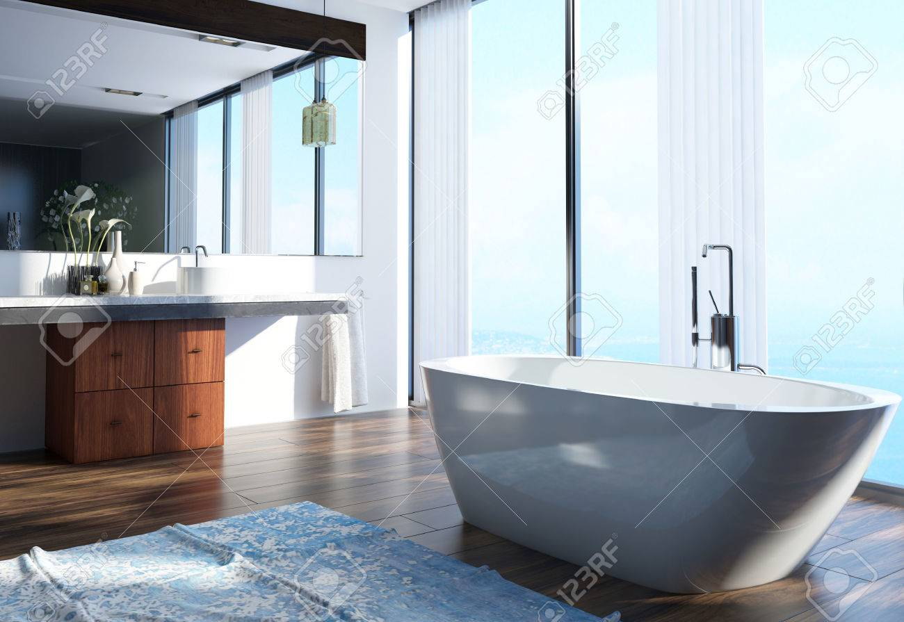 Spacious Modern Architectural Home Bathroom Interior Design With Wash Area On The Side Bathtub At