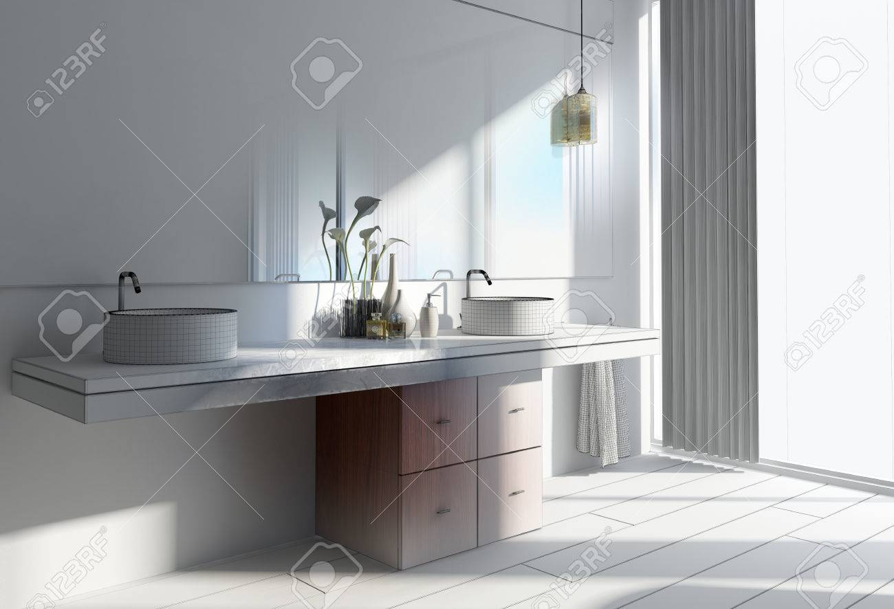 3D Design Of A Modern Architectural Home Washroom With Round.. Stock ...